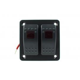Włącznik panel Alu, ON/OFFx2 Red